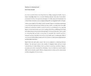 Objectives of Scholarship Award